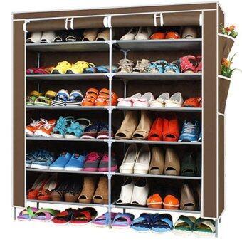 Hakone ชั้นวางรองเท้า ตู้เก็บรองเท้า ตู้ใส่รองเท้า 6 ชั้น จำนวน 42 คู่ ผ้าคลุม non woven กันน้ำ (สีน้ำตาล) new step asia ตู้เก็บรองเท้า ตู้รองเท้า ตู้วางรองเท้า