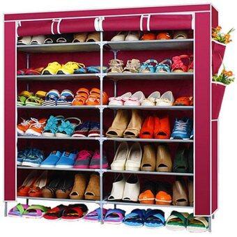 Hakone ชั้นวางรองเท้า ตู้เก็บรองเท้า ตู้ใส่รองเท้า 6 ชั้น จำนวน 42 คู่ ผ้าคลุม non woven กันน้ำ (สีแดงเลือดหมู) new step asia ตู้เก็บรองเท้า ตู้รองเท้า ตู้วางรองเท้า
