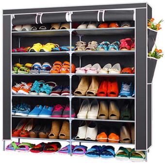 Hakone ชั้นวางรองเท้า ตู้เก็บรองเท้า ตู้ใส่รองเท้า 6 ชั้น จำนวน 42 คู่ ผ้าคลุม non woven กันน้ำ (สีเทา) new step asia ตู้เก็บรองเท้า ตู้รองเท้า ตู้วางรองเท้า