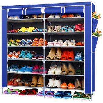 Hakone ชั้นวางรองเท้า ตู้เก็บรองเท้า ตู้ใส่รองเท้า 6 ชั้น จำนวน 42 คู่ ผ้าคลุม non woven กันน้ำ (สีน้ำเงิน) new step asia ตู้เก็บรองเท้า ตู้รองเท้า ตู้วางรองเท้า