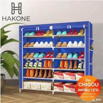 Hakone ชั้นวางรองเท้า ตู้เก็บรองเท้า ตู้ใส่รองเท้า 6 ชั้น จำนวน 42 คู่ ผ้าคลุม non woven กันน้ำ (สีน้ำเงิน)
