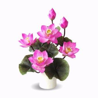 Handitop แจกันดอกบัวประดิษฐ์ ขนาดเล็ก 6 ดอก HAAR160001 Lotus Arrangement