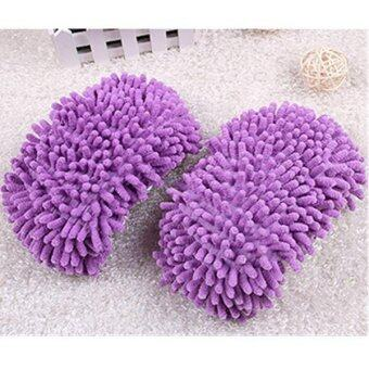 Hang-Qiao Multifunctional Chenille Shoe Covers Floor Dust CleanningSlippers Purple
