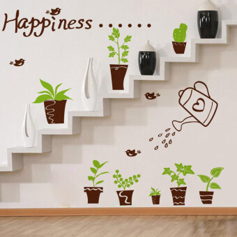 Happiness Birds Plants Pots Green Leaves Wall Decal Home StickerPVC Murals Vinyl Paper House Decoration Wallpaper Living RoomBedroom Kitchen Art Picture DIY for Children Teen Senior AdultNursery Baby - Intl