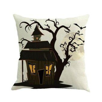Happy Halloween Pillow Cases Linen Sofa Cushion Cover Home Decor D - intl