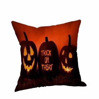 Happy Halloween Pillow Cases Linen Sofa Cushion Cover Home Decor - intl