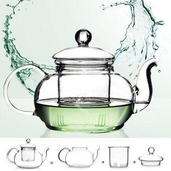 Heat Resistant Glass Teapot Infuser Tea Pot Clear 1000ML