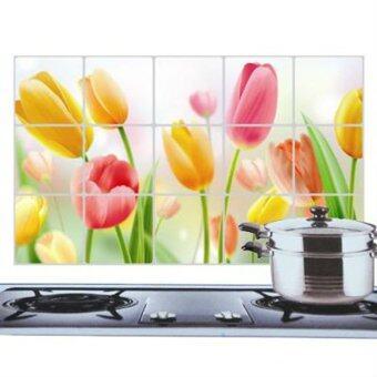 ความงามน้ำมัน Hequอะลูมิเนียมสติกเกอร์ติดผนังห้องครัวดอกไม้การตกแต่งหลักฐาน #03