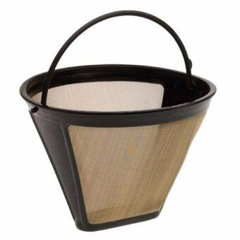 Hequ Useful Reusable Coffee Filter 10 12 Cup Permanent Cone StyleCoffee Maker Machine Filter Gold Mesh - intl