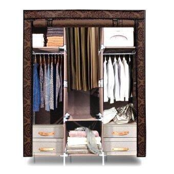 HHsociety ตู้เสื้อผ้าพร้อมผ้าคลุม รุ่น 28127-3-3(ลายไทยประยุกต์ดอกไม้)