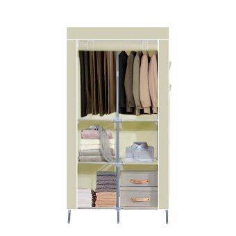 HHsociety ตู้เสื้อผ้า 4 ชั้น พร้อมผ้าคลุม รุ่น 2886-2-4 - สีครีม