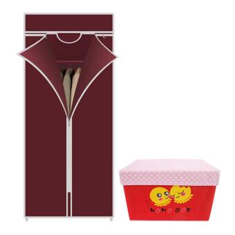 HHsociety ตู้เสื้อผ้า Quality Wardrobe ซิปเดียว – สีแดง+กระเป๋าจัดเก็บของอเนกประสงค์ลาย NoMo Box - สีแดง