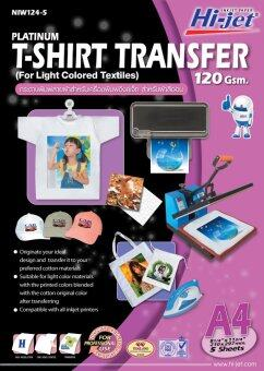 Hi-jet T-SHIRT TRANSFER FOR LIGHT COLORED กระดาษเคมีรีดสื้อสำหรับผ้าสีอ่อน 120 แกรม A4 ( 5 Sheets )
