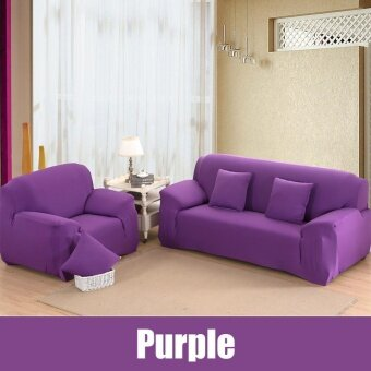 High Quality Store New Fashion L-Shape Textile Spandex 2 SeatersSofa Cover Furniture Protector Couch Slipcover HomeDecoration(PURPLE) - intl