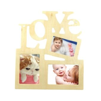 Hollow Love Wooden Family Photo Picture Frame Rahmen Base Art DIYHome Decor (Wood Color) - intl