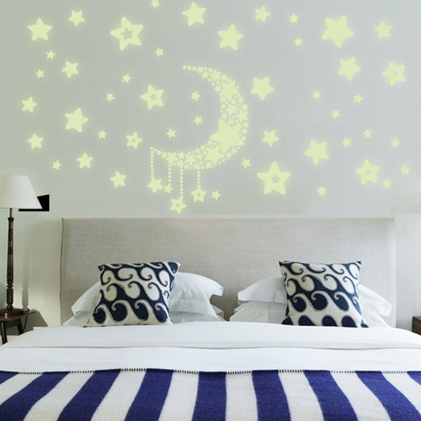 Home Decor Wall Stickers Stars Moon Night Sky Noctilucence Glow InThe Dark For Kids Rooms Art