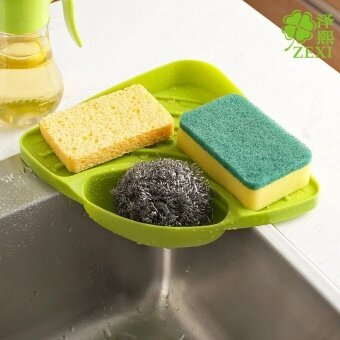Hot Sales Triangular Kitchen Sink Corner Shelf Wall Mounted SpongesStorage Rack with Drain Grooves - intl