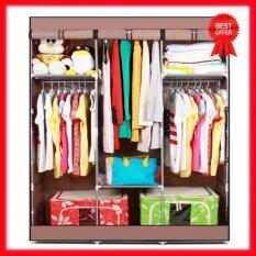 HOUSE BRAND ตู้เสื้อผ้าญี่ปุ่น พร้อมผ้าคลุม 3 บล็อค (สีน้ำตาล)