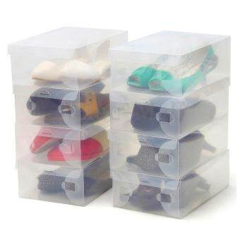 เปรียบเทียบราคา House Shoes Storage Best Gift Foldable Clear Plastic Shoes HolderCase Organizer Box