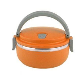 สนใจซื้อ HS Circular Stainless Steel Lunch Box ปิ่นโตสูญญากาศ ทรงกลม 1 ชั้น( Orange)
