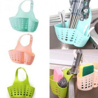 Harga Hanging Home Kitchen Sponge Drain Bag Basket Bath Storage Tools Sink Holder Pink