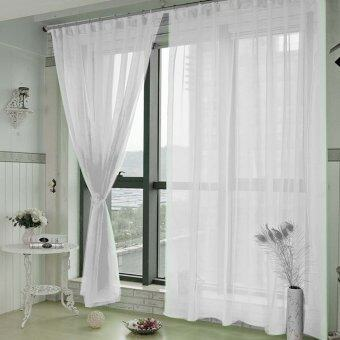Harga 1 x 2m Pure Color Voile Tulle Valance Room Door Window Balcony Curtain Divider Decor White