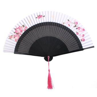 Harga Japanese Silk Bamboo Hand Folding Fan Sakura Flower Pocket Fan White Black