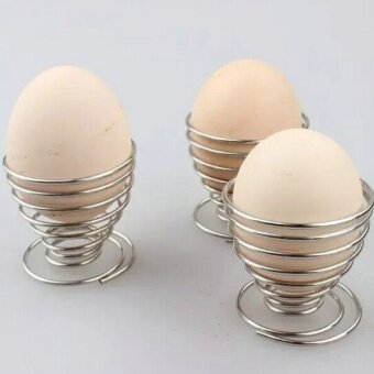 Harga 2 Pcs Stainelss Steel Spring Wire Tray Egg Cup Boiled Eggs Holder Stand Storage (Silver) - intl