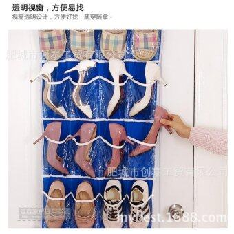 Harga 24 Pocket Door Hanging Holder Shoe Organiser Storage Rack Wall Bag Organize Room -Blue - intl