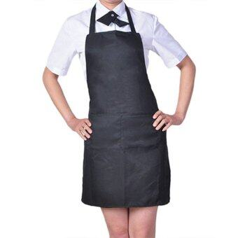 Harga 100% Cotton Professional Bib Chef Apron Black