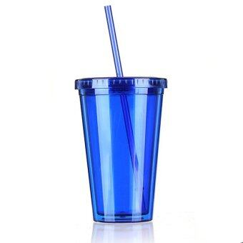 Harga Autoleader 500mL Plastic Drinks Cup Liquid Beaker Lid + Straw for Party Iced Coffee Juice Blue - INTL