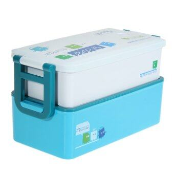 Harga 2 layer Bento Lunch Box for Kids Food Container Food Tableware 850ML(Blue)