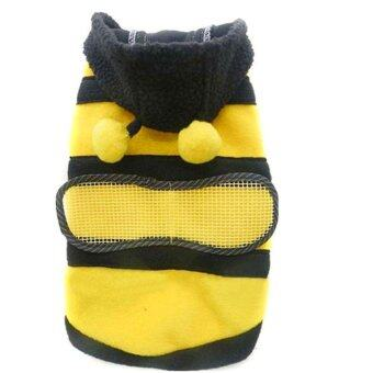 Harga Cute Bee Design Pet Dog Polar Fleece Cloth Clothing Cat Clothes Puppy Hoodie Plush Warm Winter Coat Apparel Costume Accessory for Dogs Pets with Hat Size XL