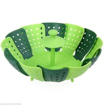Harga Yika Fruit Vegetable Plate Nylon Silicone Dish Folding Steamer Basket (Green)