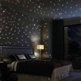 Harga JinGle 100Pcs 3D Stars Luminous Fluorescent Glow In The Dark Wall Sticker (Green)