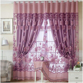 Harga Fashion 250cm*100cm Print Floral Voile Door Curtain Window Room Curtain Divider Scarf Light Purple