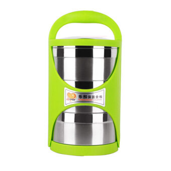 Harga GREEN-3 TIER Stainless Steel Food Containers-Stacking Vacuum Lunch Box/Food Carrier/Bento/Food Container