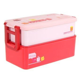Harga 2 layer Bento Lunch Box for Kids Food Container Food Tableware 850ML(Red)