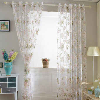 Harga JinGle 1Pcs Floral Tulle Voile Curtain 100*250cm (Pink)