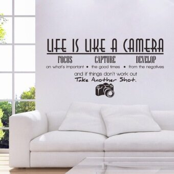 Harga Aukey Life Is Like A Camera Quote Wall Stickers