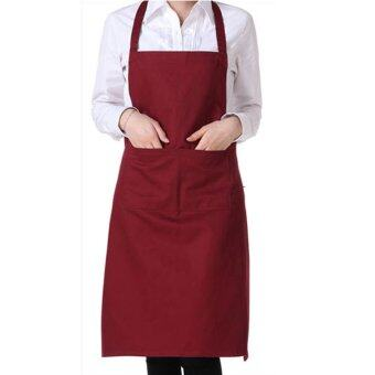 Harga 100% Cotton Professional Bib Chef Apron Wine Red
