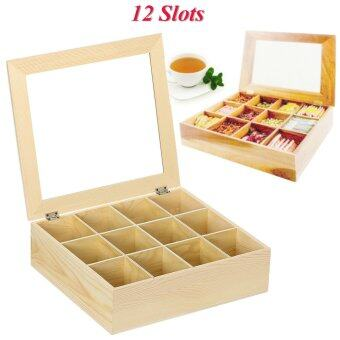 Harga Wooden Tea Box Large Tea Bag Storage Box Container 12Compartments Nature Wood - intl