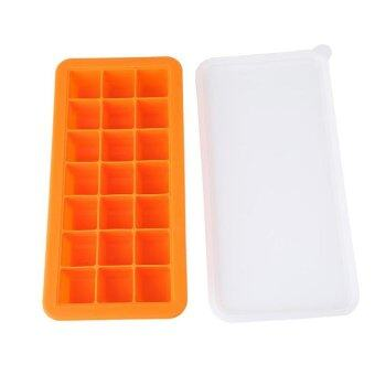 Harga HL 21 Cube Silicone Ice Cube Tray With Lid Ice Maker Jellypudding Mold (Orange) - intl