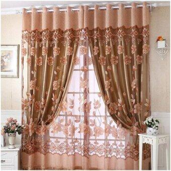 Harga Fashion 250cm*100cm Print Floral Voile Door Curtain Window Room Curtain Divider Scarf Coffee - Intl