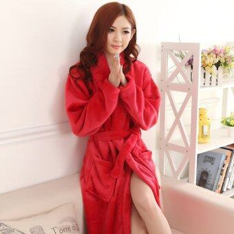 Harga Women Bath Robe Flannel Bathrobe Dress Sleepwear Soft Warm Shower SPA Home Hotel - intl