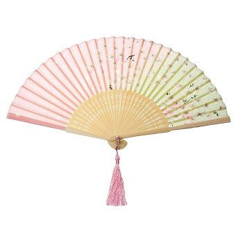 Harga Lady Vintage Silk Butterflies Sakura Pattern Hand Fan Japanese Folding Fan Gift White And Sakura - Intl