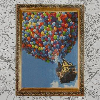 "Harga DIY Paint by Number Kit Balloon House In The Sky Painting Oil Painting 16""*20"""