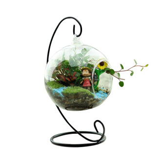 Harga Clear Glass Round with 1 Hole Flower Plant Hanging Vase Home Office Decor