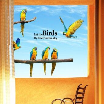Harga JinGle Let The Birds Fly Freely Macaw Art Vinyl Wall Sticker (Multicolor)