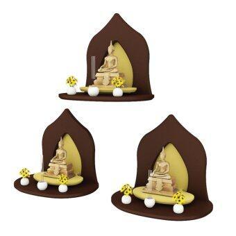 Innolife หิ้งพระหมู่ 1 Mini Buddha Shelf รุ่น S3-L-BR7106-ES เซต 3ชิ้น (สีเอสเพรสโซ่)
